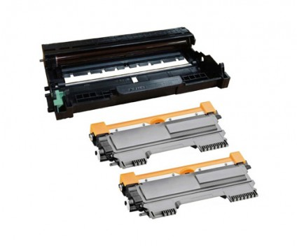 1 Tambour Compatible Brother DR-2200 ~ 12.000 Pages + 2 Toners Compatibles Brother TN-2220 / TN-2010 Noir ~ 2.600 Pages