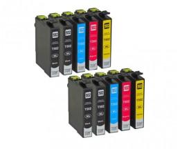 10 Cartouches Compatibles, Epson T02W1 - T02W4 / 502XL Noir 9.2ml + Couleur 6.4ml