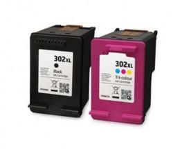 2 Cartouches Compatibles, HP 302 XL Noir 20ml + Couleur 18ml