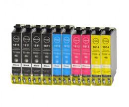 10 Cartouches Compatibles, Epson T1811-T1814 / 18 XL Noir 17ml + Couleur 13ml
