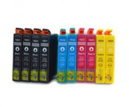 10 Cartouches Compatibles, Epson T1631-T1634 / 16XL Noir 17ml + Couleur 11.6ml