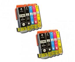 10 Cartouches Compatibles, Epson T2621 / 26 XL Noir 26ml + T2631-T2634 Couleur 13ml