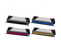 4 Toners Compatibles, Lexmark C734A1 ~ 8.000 / 6.000 Pages