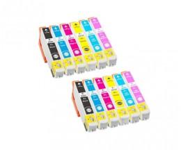 12 Cartouches Compatibles, Epson T2431-T2436 / 24 XL Noir 13ml + Couleur 13ml