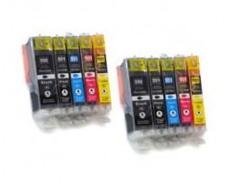 10 Cartouches Compatibles, Canon PGI-550 XL / CLI-551 Noir 22ml + Couleur 13ml