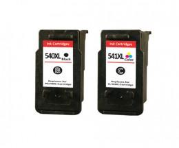 2 Cartouches Compatibles, Canon PG-540 XL / CL-541 XL Noir 24ml + Couleur 21ml