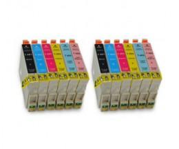12 Cartouches Compatibles, Epson T0481-T0486 Noir 18ml + Couleur 18ml