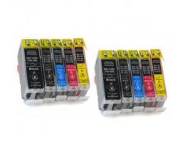 10 Cartouches Compatibles, Canon BCI-3 / BCI-6 Noir 26.8ml + Couleur 13.4ml