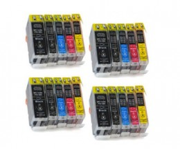 20 Cartouches Compatibles, Canon BCI-3 / BCI-6 Noir 26.8ml + Couleur 13.4ml