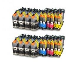 20 Cartouches Compatibles, Brother LC-121 / LC-123 Noir 20.6ml + Couleur 10ml
