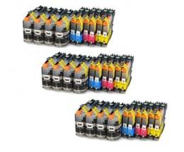 30 Cartouches Compatibles, Brother LC-121 / LC-123 Noir 20.6ml + Couleur 10ml