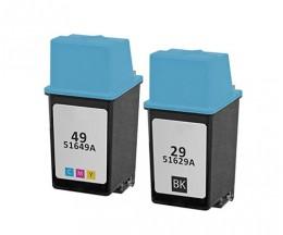 2 Cartouches Compatibles, HP 29 Noir 39ml + HP 49 Couleur 21ml