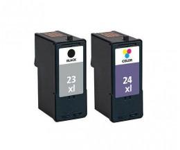 2 Cartouches Compatibles, Lexmark 23 XL Noir 21ml + Lexmark 24 XL Couleur 15ml