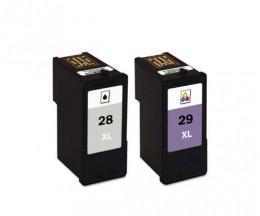 2 Cartouches Compatibles, Lexmark 28 XL Noir 21ml + Lexmark 29 XL Couleur 15ml