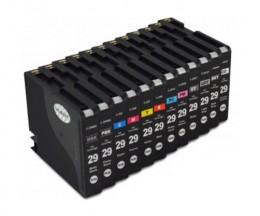 12 Cartouches Compatibles, Canon PGI-29 Noir 36ml + Couleur 36ml