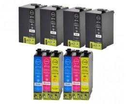 10 Cartouches Compatibles, Epson T2701-T2704 / T2711-T2714 / 27 XL Noir 22.4ml + Couleur 15ml