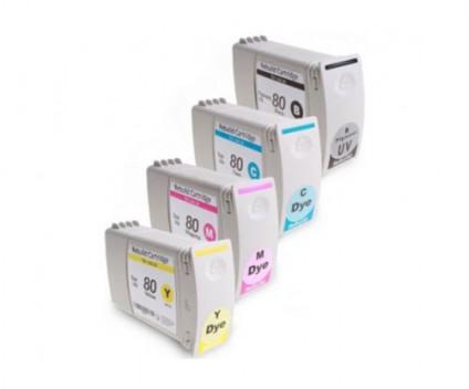 4 Cartouches Compatibles, HP 80 Noir + Couleur 400ml