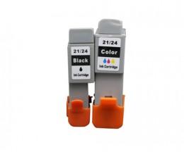 2 Cartouches Compatibles, Canon BCI-21 / BCI-24 Noir 9.2ml + Couleur 12.6ml