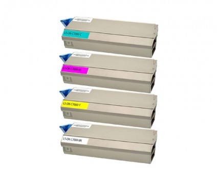 4 Toners Compatibles, OKI 413042XX ~ 10.000 Pages