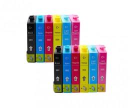 12 Cartouches Compatibles, Epson T0801-T0806 Noir 13ml + Couleur 13ml