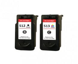 2 Cartouches Compatibles, Canon PG-510 / PG-512 Noir 16ml + CL-511 / CL-513 Couleur 14.5ml
