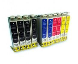 10 Cartouches Compatibles, Epson T0711-T0714 Noir 13ml + Couleur 13ml