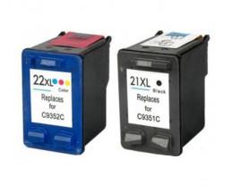 2 Cartouches Compatibles, HP 21 XL Noir 22ml + HP 22 XL Couleur 16ml