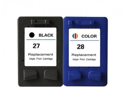 2 Cartouches Compatibles, HP 28 Couleur 18ml + HP 27 Noir 22ml