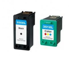 2 Cartouches Compatibles, HP 351 XL Couleur 18ml + HP 350 XL Noir 25ml