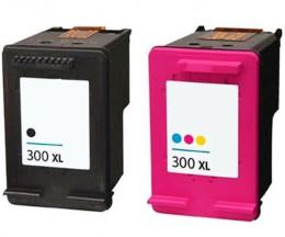 2 Cartouches Compatibles, HP 300 XL Noir 20ml + Couleur 18ml