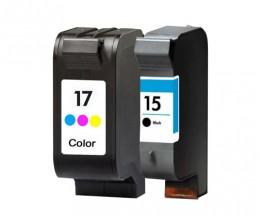 2 Cartouches Compatibles, HP 17 Couleur 39ml + HP 15 Noir 40ml