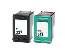 2 Cartouches Compatibles, HP 337 Noir 18ml + HP 343 Couleur 18ml