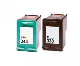 2 Cartouches Compatibles, HP 344 Couleur 18ml + HP 338 Noir 20ml