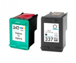 2 Cartouches Compatibles, HP 342 Couleur 18ml + HP 337 Noir 18ml