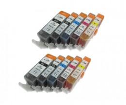 10 Cartouches Compatibles, Canon PGI-525 / CLI-526 Noir 19.4ml + Couleur 9ml