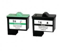 2 Cartouches Compatibles, Lexmark 26 / 27 Couleur 12ml + Lexmark 16 / 17 Noir 15ml