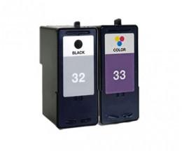 2 Cartouches Compatibles, Lexmark 33 Couleur 15ml + Lexmark 32 Noir 21ml