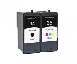2 Cartouches Compatibles, Lexmark 35 Couleur 15ml + Lexmark 34 Noir 21ml