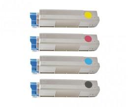 4 Toners Compatibles, OKI 43865708 Noir + 4387230X Couleur ~ 8.000 / 2.000 Pages