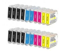 20 Cartouches Compatibles, Brother LC-970 XL / LC-1000 XL Noir 36ml + Couleur 26.6ml