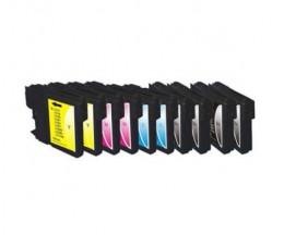10 Cartouches Compatibles, Brother LC-980 XL / LC-1100 XL Noir 28ml + Couleur 18ml