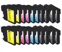 20 Cartouches Compatibles, Brother LC-980 XL / LC-1100 XL Noir 28ml + Couleur 18ml