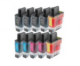 10 Cartouches Compatibles, Brother LC-900 Noir 20ml + Couleur 12ml