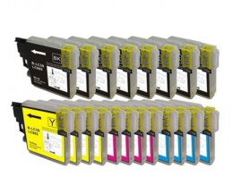 20 Cartouches Compatibles, Brother LC-985 XL Noir 28ml + Couleur 18ml