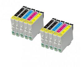 10 Cartouches Compatibles, Epson T0441-T0444 Noir 17ml + Couleur 17ml