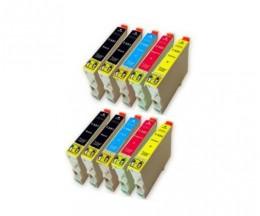 10 Cartouches Compatibles, Epson T0551-T0554 Noir 17ml + Couleur 16ml