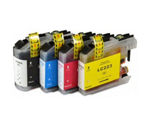 4 Cartouches Compatibles, Brother LC-221 / LC-223 Noir 16.6ml + Couleur 9ml