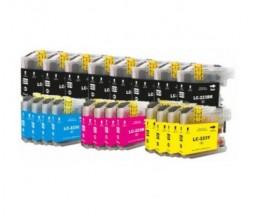 20 Cartouches Compatibles, Brother LC-221 / LC-223 Noir 16.6ml + Couleur 9ml