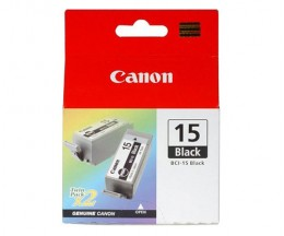 2 Cartouches Originales, Canon BCI-15 Noir 5.3ml