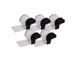 5 Etiquettes Compatibles, Brother DK22212 62mm x 15.24m Rouleau Blanc Papier